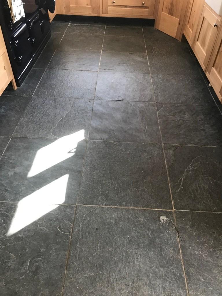 Rough Black Slate Floor Before Cleaning