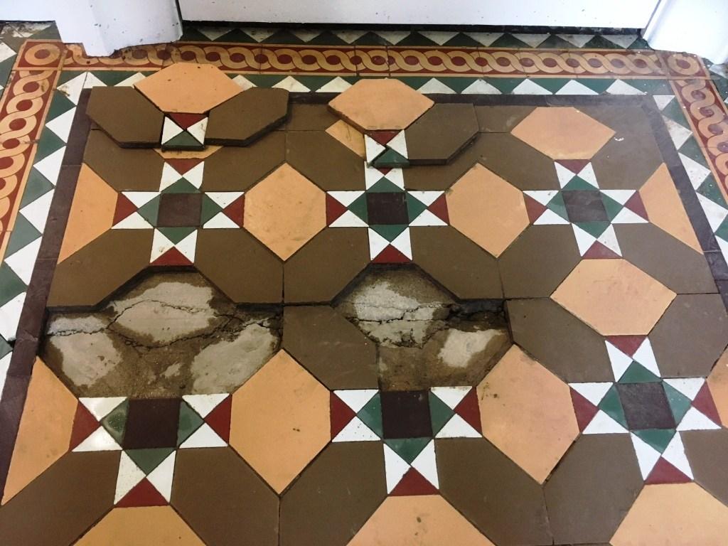 Victorian floor tiles during restoration